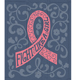 pink ribbon with hand drawn typography poster vector image