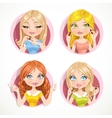 Beautiful girls with cosmetic emblems isolated on vector image vector image