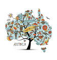 australian map tree with icons set sketch vector image