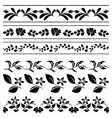 Floral borders - black tracery vector image