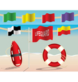 lifeguard warning flags and floatation devices vector image