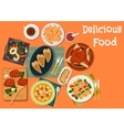 Meat and seafood dishes icon for dinner design vector image
