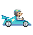 A girl in a car racing competition vector image vector image