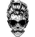 hipster skull image vector image