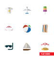 flat icon summer set of yacht parasol clothes vector image
