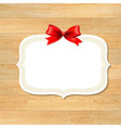 Wood Wall With Red Bow vector image