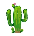 Large green prickly cactus with flower vector image
