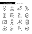 Navigation thin line icon set vector image