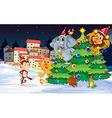 Animals near the christmas trees vector image