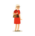 beautiful senior woman in red dress colorful vector image