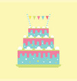 birthday cake with flags vector image