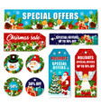 christmas decorations sale shop tags vector image