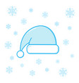 christmas santa hat and snowflakes vector image