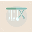 CUTLERY KITCHEN FLAT ICON vector image
