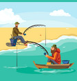 flat fisherman hat sits on boat with trolling vector image