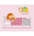 Girl sleeping in the bed flat vector image