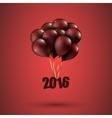 Happy new year 2016 card balloons font editable vector image