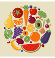 Healthy Food Set of Fruits and Vegetables vector image