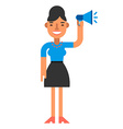 Smiling woman with a loudspeaker in hand Coloured vector image