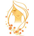 women autumn face vector image