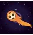 flying soccer ball on fire vector image