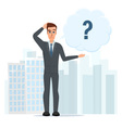 cartoon with bar question mark Business cartoon vector image