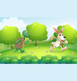 turtle and rabbit running in park vector image vector image