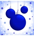 Three Blue Knitted Christmas Balls vector image