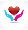 Male and female hand together protect a heart vector image