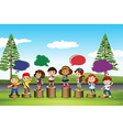 Many children standing on logs vector image