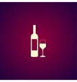 Wine bottle and glass silhouette vector image