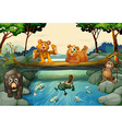 Bears and other animals in the forest vector image