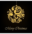 Gold Glitter Floral Christmas Ball on Black vector image