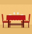 kitchen interior with kitchen table and chair on vector image