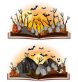 two halloween scenes at graveyard vector image