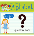 Flashcard letter Q is for question mark vector image