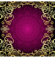 Purple vintage frame with lace mandala vector image