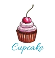Chocolate tart cupcake icon vector image vector image
