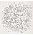 Cartoon hand drawn Doodle Be My Valentine vector image