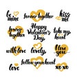 valentine day hand drawn quotes vector image