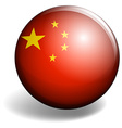 China flag on round badge vector image