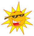 hot sun with shades cartoon character vector image