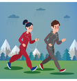 Man and Woman with Headphones Running vector image