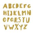 Gold Alphabet Cut letters from golden foil vector image
