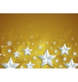 Abstract shiny golden background with silver stars vector image