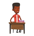 African-american student sitting at the desk vector image