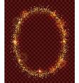 golden confetti oval frame on dark transparent vector image
