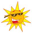 Hot sun with shades cartoon character vector image