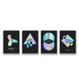 posters set with fluid colorful shapes vector image