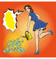 woman watering money pop vector image